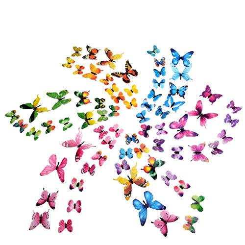 Pegatinas de Pared 72 Piezas 3D Mariposa Luminosa Wall Stickrs Decorativos de Pared Removible Mural de Arte Artesania Bricolaje Pegatinas Decoracion
