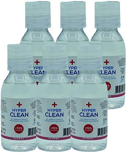Gel Hidroalcoholico manos 6 x 125ml con Dosificador AROMA FLORAL - Gel desinfectante de manos - Gel higienizante y...