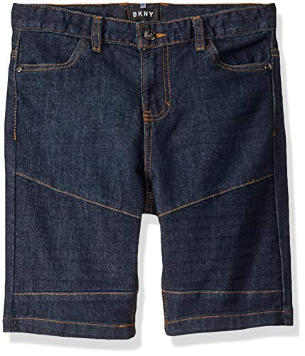 DKNY Boys' Big Moto Denim Short, Dark Wash, 18