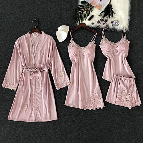JFCDB Zomer pyjama,4-delige dames pyjama-riem met borstkussen Nachtshort met riem Vest-set Nachtkleding, roze, l