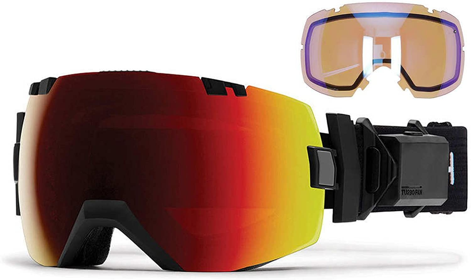 Smith Optics I OX Turno Fam Snow Goggle Black with CP Sun Red Mirror and CP Storm Lens