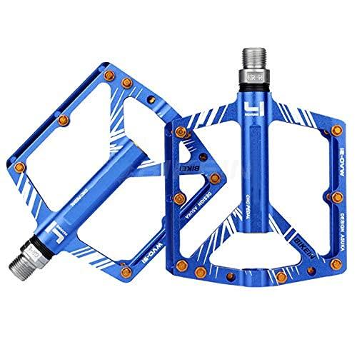 XYXZ Plataforma De Bicicleta Pedal Plano Bicicleta De Montaña Aleación De Aluminio Pedal De Rodamiento Ultrafino Pedal Ultraligero Pedal De Bicicleta, Azul
