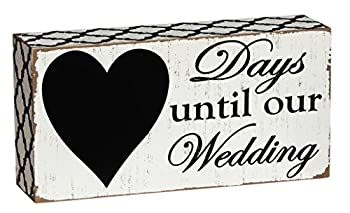 """Cypress Home Beautiful Days Until Our Wedding  Rustic Countdown Wooden Chalkboard Sign - 8""""W x 2""""D x 4""""H"""
