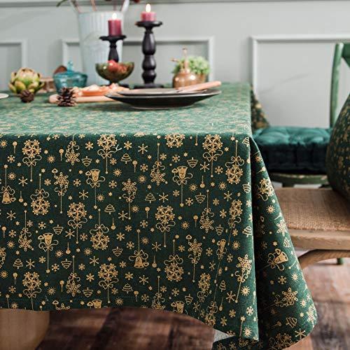HJCC Mesa Navideña De Lino Y Algodón Estampada con Mantel De Carillón De Viento Bronceado para Bodas Fiesta Buffet Navidad Cumpleaños Restaurante,Verde,140 * 180cm