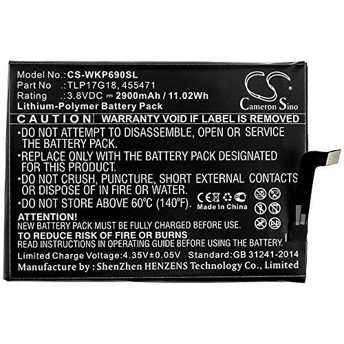 cellePhone Batteria Li-Polymer Compatibile con Wiko Wim Lite (sostituita TLP17G18)