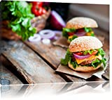 Pixxprint Leckere Burger, Format: 80x60 auf Leinwand, XXL riesige Bilder fertig gerahmt mit...