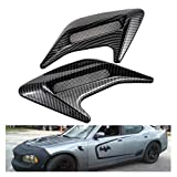 TUINCYN Universal Car Hood Scoop Vent Cover Decorative Carbon Fiber Air Flow Intake Ventilation Cover(Pack of 2)