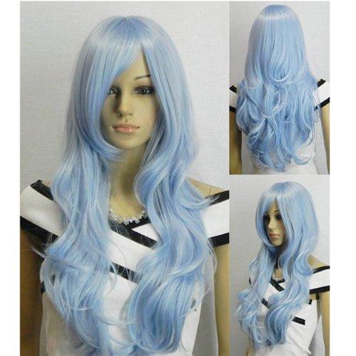 AGPTEK 33 inch Heat Resistant Curly Wavy Long Cosplay Halloween Wigs for Women - Light Blue