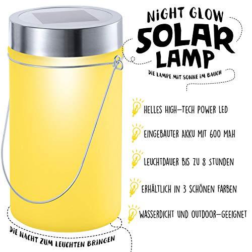LED Solarlampe Sonnen-Lampe mit Akku, warm leuchtende Solar-Laterne im Einmachglas als Outdoor Deko Garten-Leuchte - wasserfeste Sun Jar Gartenlampe zum Aufhängen & als wasserdichte Tischlampe