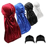 4PCS Silky Durags Skull Caps for Men Waves Women, Do Rags Headwraps with 2 Wave Caps (Stocking Caps) (Set-1)
