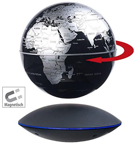 infactory Schwebeglobus: Freischwebender Globus mit beleuchteter Magnet-Schwebebasis, Ø 14 cm (Erdkugel)