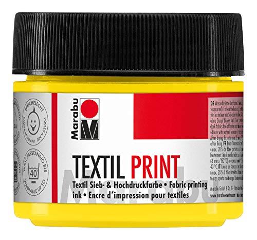 Marabu 17030050919 - Pintura textil Print amarillo primario 100 ml, para serigrafía y alta presión a base de agua, inodora y resistente a la luz, larga apertura para tejidos claros y oscuros.
