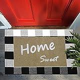 Black and White Buffalo Plaid,Welcome Doormat, Bezior Front Door Mat Outdoor+Outdoor Rug Combo Set Doormats for Entrance Door Mats Farmhouse Doormat Checkered Indoor Outdoors Mats