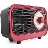 Calefactor Retro, 500W Calefactor de Aire Caliente, PTC Calentador de Cerámica Escritorio, con Sistema Antivuelco Temperatura Constante, para Hogar, Sala Estar, Dormitorio y Oficina,Rojo