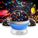 Yeelan Lámpara de Proyector Estrella Lámparas de Proyección Giratorias de 360 ° LED Luz de Noche de Humor Luces USB con Película de 3 Lámparas para Dormitorio Infantil de Guardería (Azul)