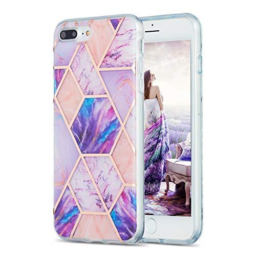 Carcasa de silicona para iPhone 8 Plus y 7 Plus, diseño de mármol IMD, flexible, color morado claro