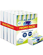 Fine, Sterilized Facial Tissues, Fluffy, 150X2 Ply White Tissues, pack of 5 boxes