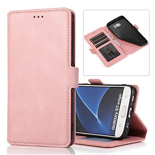 LODROC Galaxy S7 Edge Hülle, TPU Lederhülle Magnetische Schutzhülle [Kartenfach] [Standfunktion], Stoßfeste Tasche Kompatibel für Samsung Galaxy S7Edge/G935F - LOKLT0100254 Rosa Gold