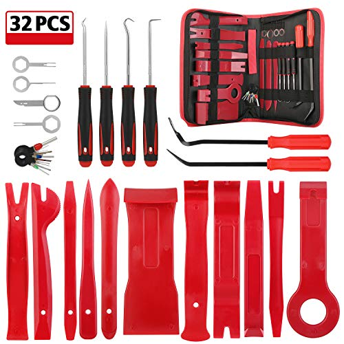 Kohree 32PCS Auto Trim Removal Tool Kit, Car Door Audio Panel Trim Removal Set, Automotive Plastic Upholstery Removal & Install Pry Tool Kit with Storage Bag