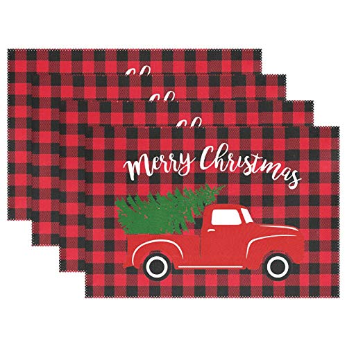 Wamika Merry Christmas Red Buffalo Plaid Placemats Set of 6 Table Mat Winter Snowflake Tree Truck Table Mats Placemat 12x18 in for Dining Home Kitchen Decor Indoor
