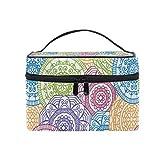 Estuches de Tren de Maquillaje Roma Floral Round Travel Cosmetic Bag Portable Artist Storage Bag Organizer para Mujer