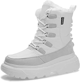 Men's Trainer Shoes, Increased Shock Absorption, Waterproof, Warm, Sweat-Absorbent Snow Boots, Lightweight Sneakers,White,41