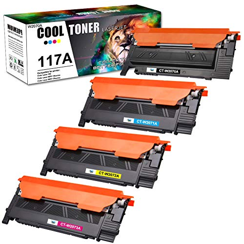 (Con chip) Cool Toner Compatibile per HP 117A W2070A Cartucce di Toner per HP Color Laser MFP 178nw 178nwg, HP Color Laser MFP 179fnw 179fwg, HP Color Laser 150nw 150a W2071A W2072A W2073A