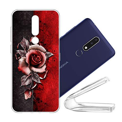 vingarshern Handyhülle Nokia 3.1 Plus Hülle Silikon Bumper Hülle,Dünne Flex Weich Fallschutz Stoßfest Schutz Cover Nokia 3.1 Plus Schutzhülle Silikonhülle Mit Muster,Rose (Rote)