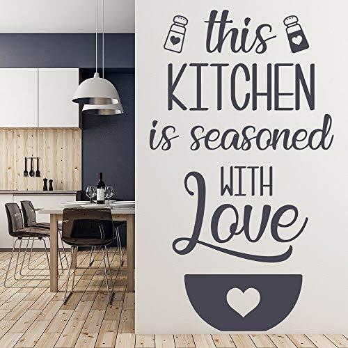 wZUN Temporada con Amor calcomanía de Pared Cocina Cita Letras Vinilo Adhesivo Restaurante Comedor decoración Mural 42X72 cm
