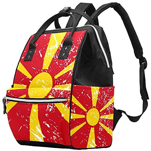 Yuelai Borsa per pannolini Zaino per laptop Zaino da viaggio da viaggio per donna, bandiera vintage macedonia