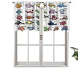 Hiiiman Cenefas opacas para cortina, paneles de cortina cortos, para acuario, diseño de pulpo, delfín, tiburón, ballena, payaso, peces medusas, juego de 2, 54 x 24 pulgadas para cocina y baño