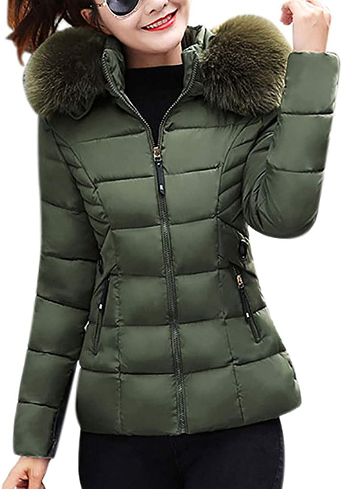 YKARITIANNA Women Tops, Tees & Blouses Winter Warm Soft Quilted Faux Fur Hooded Short Slim Cotton-Padded Jackets Coat Green