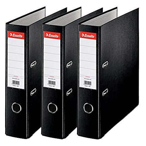 Esselte A4 Ordner, 3er Pack, Rückenbreite 7,5 cm, schwarz, 624294