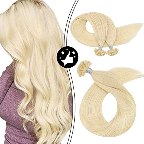 Moresoo 24-Inch Keratin Hair Extensions Human Hair Color Bleach Blonde