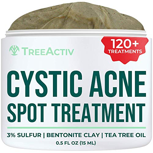 TreeActiv Cystic Acne Spot Treatment, Best Extra Strength Fast Acting Formula for Clearing Severe Acne from Face and Body, Gentle Enough for Sensitive Skin, Adults, Teens, Men, Women (0.25 Ounce)