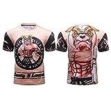 TX Artes Marciales De MMA Camisetas De Entrenamiento De Manga Corta Jiu-Jitsu No-Gi Rashguard De BJJ Lucha Libre Medias De Compresión De Gimnasio para Hombres,6,M