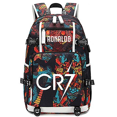 Lorh's store Soccer Player Star Cristiano Ronaldo Luminous Multifunction Backpack CR7 Travel Student Backpack Football Fans Bookbag for Men Women (R-Pattern 2)