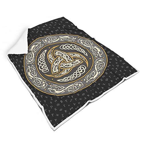 QVOOD Manta de runas vikingas, suave y cálida, para el sofá, para dormir, de felpa, para adultos y niños, color blanco, 150 x 200 cm