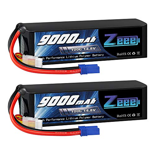 Zeee 14.8V Lipo Battery 4S 100C 9000mAh Battery EC5 Connector with Metal Plates for RC Car RC Truck Traxxas RC Tank RC Models (2 Packs)