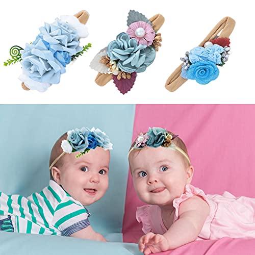 IYOU Bebé Chicas Flor Diademas Azul Floral Sale de Banda para el cabello con Elástico Cinta para Niños como Fiesta Boda Fotografía Accesorios para el Cabello(Paquete de 3)