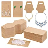 Earring Cards for Display, Anezus 200 Pack Earring Packaging Holder Cards with Necklace Display Cards and 200 Earring Backs for Earrings Necklace Jewelry Display, Kraft Color, 3.5x2 Inches