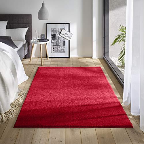 Teppich Wölkchen Waschbarer Teppich mit Anti-Rutsch I Flauschiger Kurzflor für Badezimmer, Kinderzimmer oder Flur Läufer I Einfarbig, Schadstoffgeprüft, Allergikergeeignet | Rot - 80 x 150