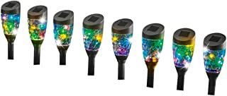 Collections Etc Solar Multicolor Sparkling Light Stakes - Set of 8, Lighting for Garden, Yard, or Pathway