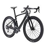 SAVADECK Carbon Gravel Road Bike, 700cX40c Carbon Trail Gravelcon Shimano R8070 y ULTEGAR R8000 Freno de Disco hidráulico de 22 velocidades y Bicicleta de Equilibrio de Fibra de Carbono (Gris, 56cm)