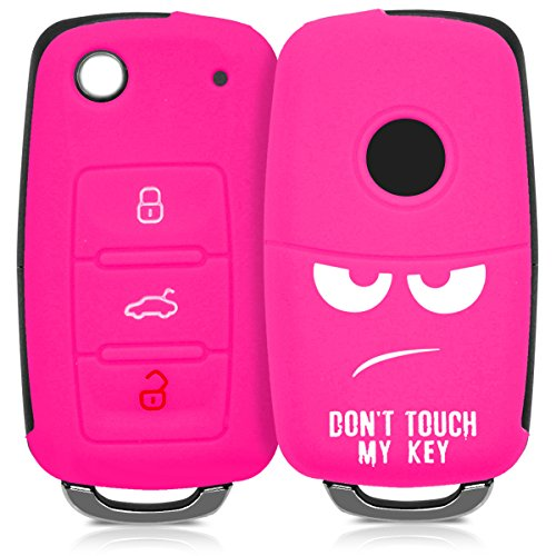 kwmobile Autoschlüssel Hülle kompatibel mit VW Skoda Seat 3-Tasten Autoschlüssel - Silikon Schutzhülle Schlüsselhülle Cover Don\'t Touch My Key Weiß Pink