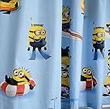 NOVUM fix Vorhang, Gardine, Schal mit Kräuselband Minions, Blickdicht, 100% Reine Baumwolle Bedruckt, blau (175x140cm (HxB))