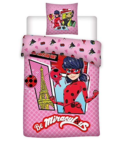 Wende Bettwäsche Set Miraculous Ladybug, 100 x 135 cm 60 x 40 cm, 100% Baumwolle