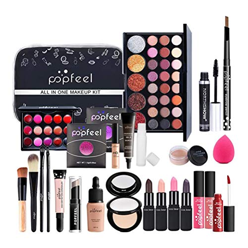 27PCS Schmink Geschenkset Make-Up Set Kosmetik Makeup Paletten Schminkkoffer Schminke für Gesicht, Augen und Lippen