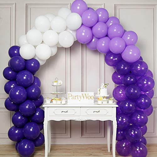 PartyWoo Purple and White Balloons, 100 pcs 12 Inch of Purple Balloons, Lavender Balloons, Deep Purple Balloons, White Balloons for Purple Decorations, Lavender Decorations, Purple Party Decorations