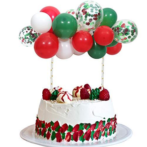 Christmas Balloon Cloud Cake Topper, Mini Green Red Balloon Garland Cake Topper 20Pcs 5Inch Christmas Color Balloons for Christmas Xmas Party Cake Decorations